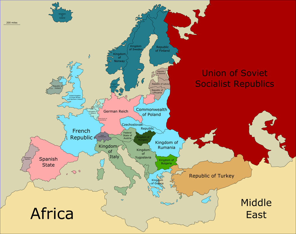 Map of Europe 1938 - Maps of Europe